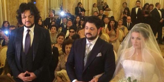 Филипп Киркоров поймал букет невесты на свадьбе Нетребко