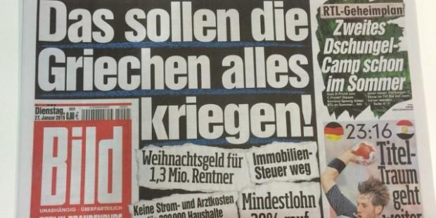 Журнал Bild обвинили в давлении на общественное мнение немцев о кризисе в Греции