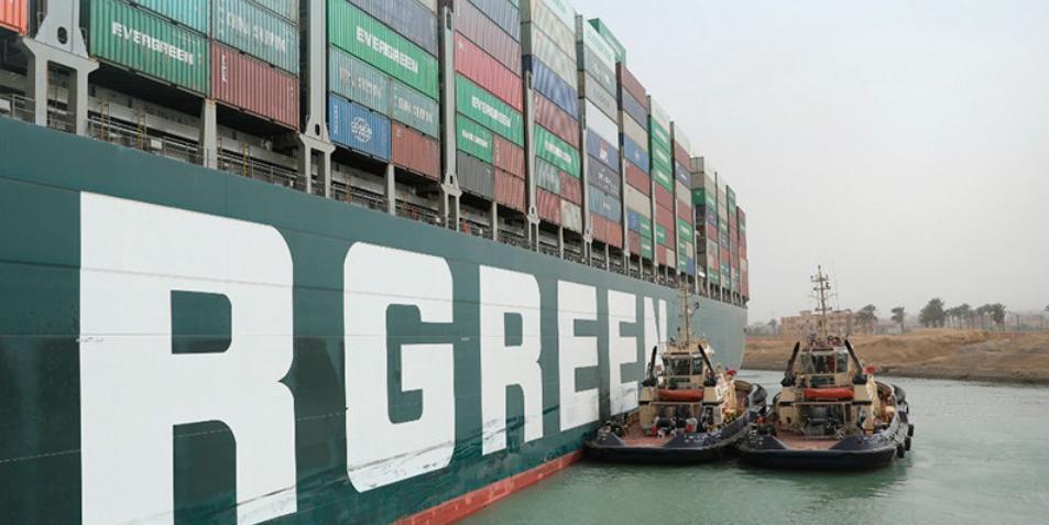 """Гигантский контейнеровоз """"нарисовал"""" пенис перед тем, как застрять в Суэцком канале"""