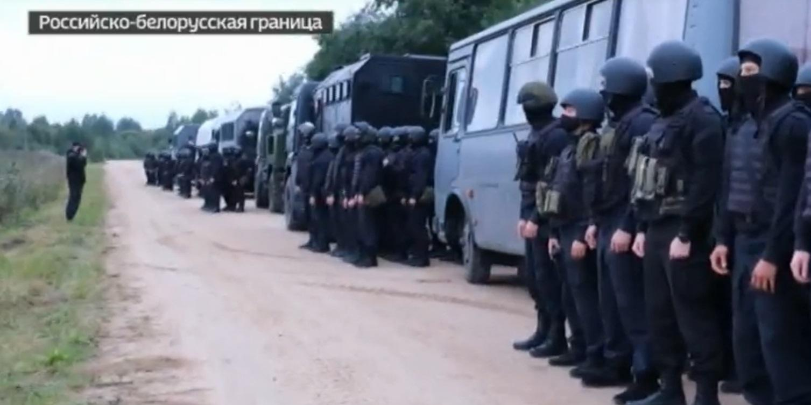 Отвод резерва российских силовиков от границы с Белоруссией попал на видео