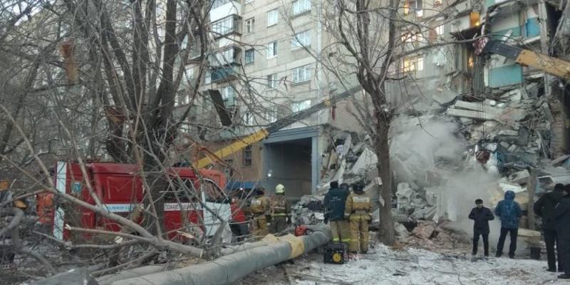 Обрушение подъезда в Магнитогорске попало на видео