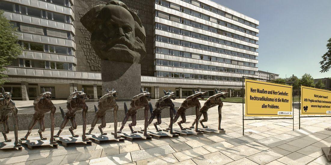 """После беспорядков в немецком Хемнице компанию каменному Марксу составили """"зигующие"""" волки"""