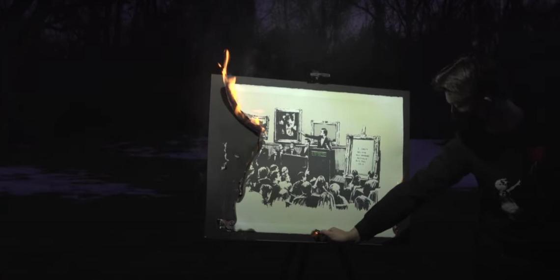 Картину Бэнкси сожгли и превратили в уникальный цифровой актив