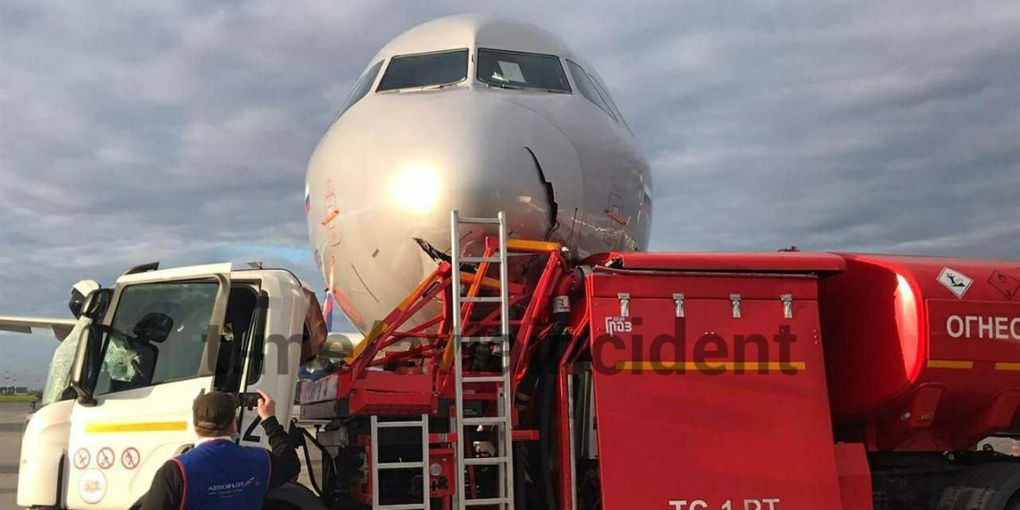 Бензовоз протаранил самолет в Шереметьево