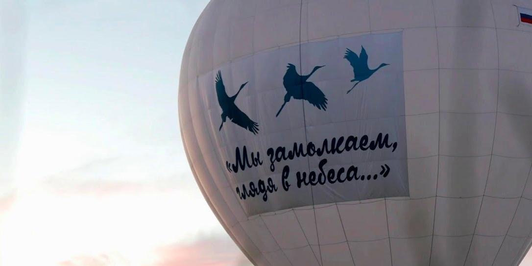 Активисты Российского движения школьников запустили баннер с журавлями в память о погибших на войне