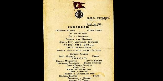 """Меню последнего обеда на лайнере """"Титаник"""" продали за 88 тысяч долларов"""