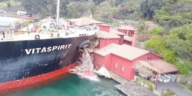 Столкновение следовавшего на Украину танкера с особняком на берегу Босфора попало на видео