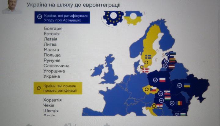 В Twitter Петра Порошенко опубликовали карту евроинтеграции с ошибками