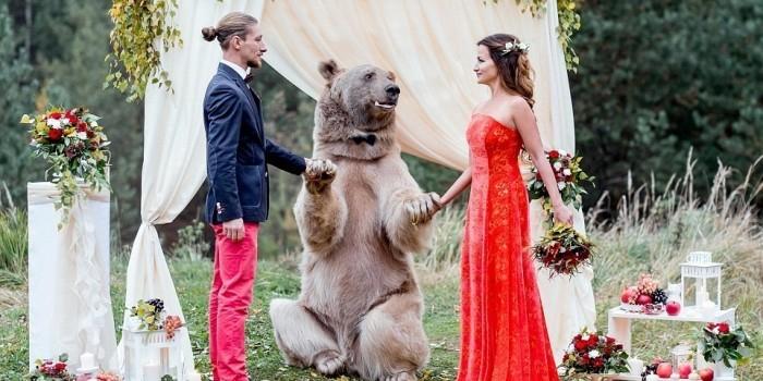 Свадебная фотосессия москвичей с медведем стала хитом сети