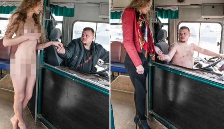 Иркутская модель протестовала голышом в автобусе
