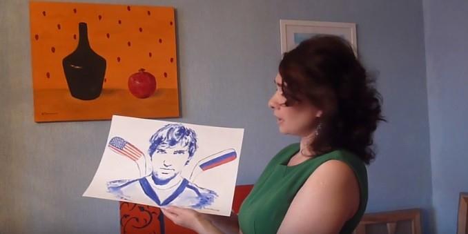 Петербургская художница нарисовала грудью портрет хоккеиста Александра Овечкина