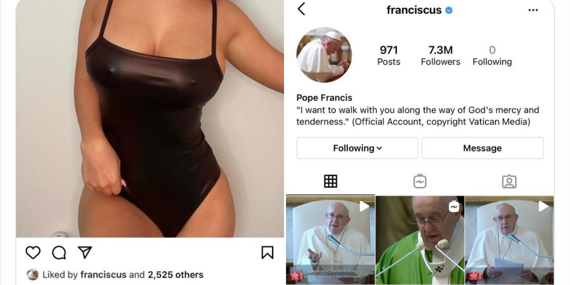 Папа Римский снова лайкнул откровенный снимок: горячие фото девушки, которая понравилась понтифику