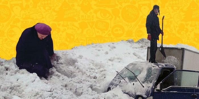 Московская весна: крупнейший за 80 лет снегопад на снимках из соцсетей