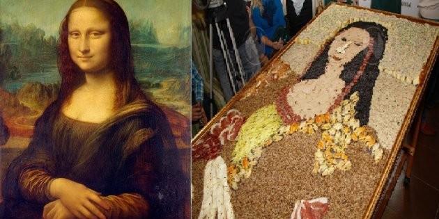 В Новокузнецке воссоздали портрет Джоконды из колбасы и гречки