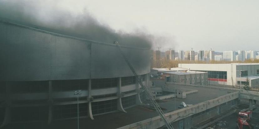 Появилось видео с места пожара в красноярском Дворце спорта
