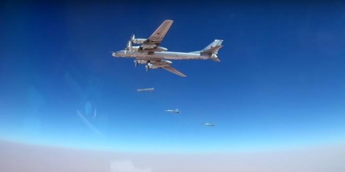 Опубликовано видео запуска новейших крылатых ракет с Ту-95 по целям в Сирии