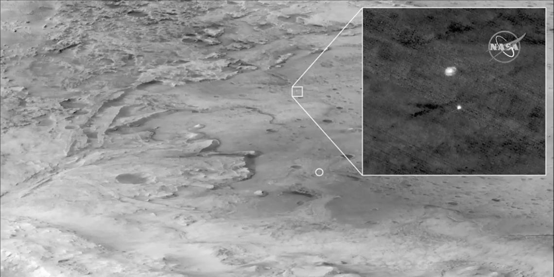Опубликованы первые цветные фото, сделанные аппаратом Perseverance во время посадки на Марс