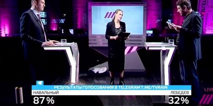 """""""Дождь"""" насчитал 119% голосов зрителей дебатов Лебедева с Навальным"""