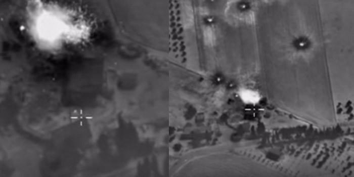 Минобороны опубликовало видео ночных авиаударов по позициям сирийских террористов