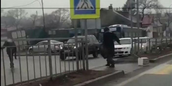 Жительницу Владивостока засняли за выгулом микроволновки на поводке