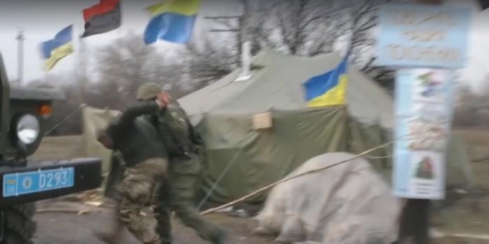 Украинская полиция опубликовала видео задержания участников блокады Донбасса