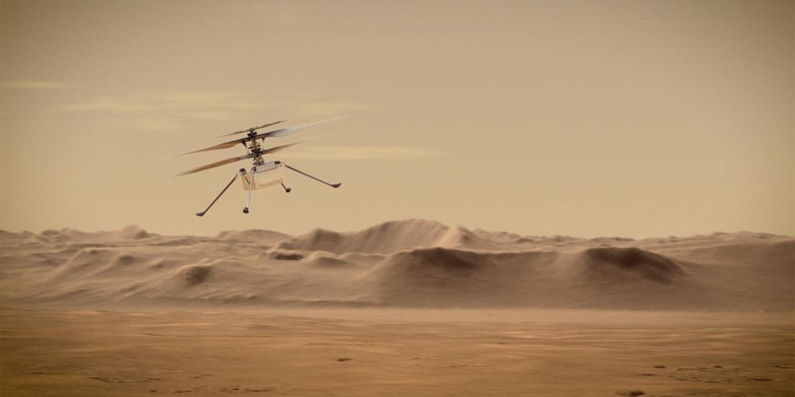 Вертолет Ingenuity впервые пролетел над поверхностью Марса