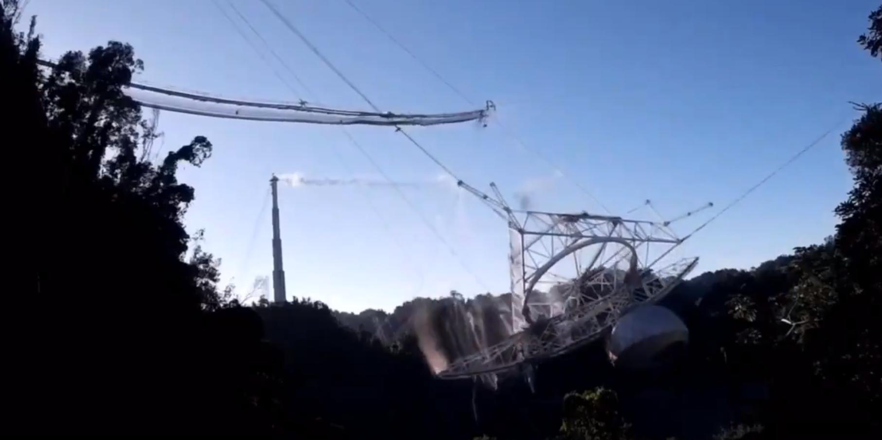 """Опубликовано видео обрушения гигантского телескопа """"Аресибо"""""""