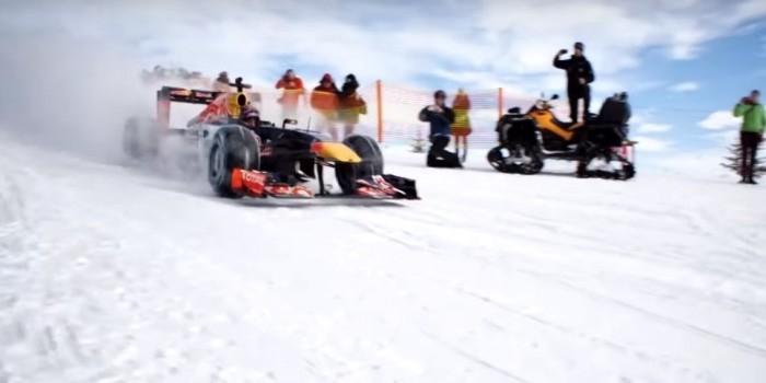 """Пилот """"Формулы 1"""" проехал на болиде по горнолыжной трассе"""