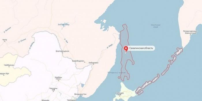 """На """"Яндекс.Картах"""" после запуска ракеты в КНДР пропал Сахалин"""