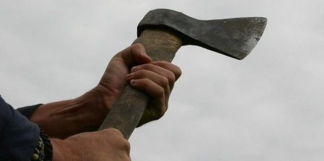 Выгнанная из храма женщина начала громить топором дворовые скульптуры