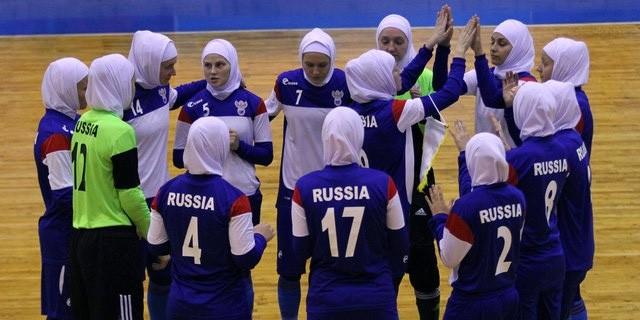 Сборная России по мини-футболу провела матч в хиджабах